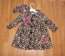 Bonnie Jean Little Girls 2T Leopard Print Fleece Dress Coat & Hat 2 PC Set Brown