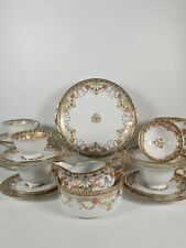 More details for japanese noritake tea set/ service decorated with yellow ribbon and red flowers