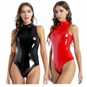 Sexy-women Bodysuit Wet Look Patent Leather Leotard Sleeveless Jumpsuit Clubwear