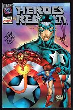 Heroes Reborn 1/2~~ Cap / Iron Man / signed by Liefeld / Loeb ~ 1996 (9.2) WH