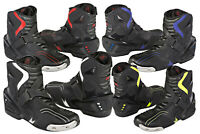 MENS HiViz Short Style Ankle MOTORBIKE MOTORCYCLE RACING Leather BOOTS SHOES