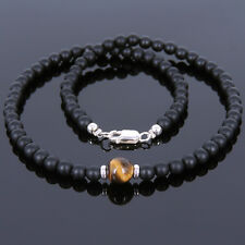 Healing Reiki Gemstones Mens Necklace Tiger's Eye Matte Black Onyx Chakra Stones