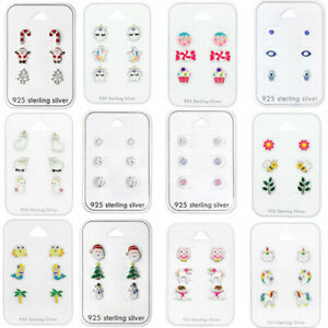 925 Sterling Silver Studs Earrings Round Unicorn Dog Cat Daisy Heart Christmas