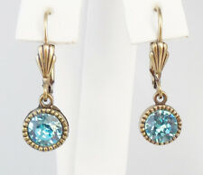 NEW ANNE KOPLIK SIMPLE ELEGANCE SWAROVSKI CRYSTAL DROP EARRINGS  GT/BLUE