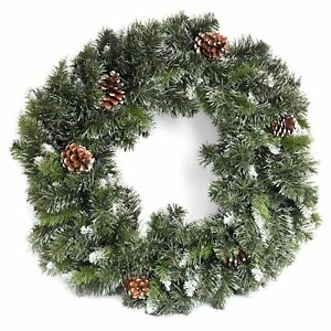 2ft Frosted Snow King Fir Wreath With Pinecones Christmas Wall Decoration
