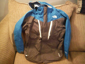 NORTH FACE Hyvent MEDIUM 10-12 Blue/Gray Jacket Shell w Hood