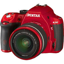 Refurbished Pentax K-50 Camera with DAL 18-55mm WR Lens in Red