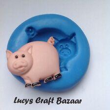 Silicone Mould Spring Pig Farm Yard Sugarcraft Cupcake Topper Decorating Fondant
