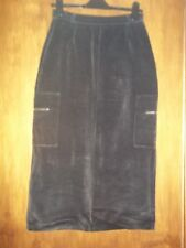 womans long black velour look straight skirt size 8 approx in good condition