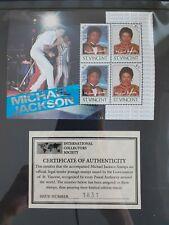 SAINT VINCENT 1985 MICHAEL JACKSON LEADERS OF THE WORLD STAMPS MNH COA