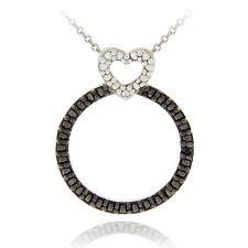 925 Silver Black Diamond Accent Heart Circle Necklace