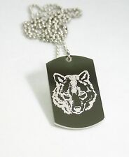 STAINLESS STEEL WOLF IMAGE   DOG TAG NECKLACE PENDANT