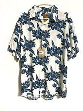 Margaritaville Men's Large White Blue Floral BBQ Button Up Shirt Short Sleeve