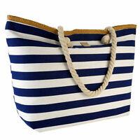 Strandtasche Badetasche XXL Shopper Damentasche Schultertasche  blau weiß marine