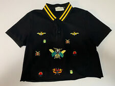Vintage Gucci Womens Polo Embroidered Bee Bug Shirt Black Crop Top Size XXL