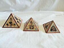 Egyptian Wooden Pyramid Set Inlaid With Papyrus Paper Nefertiti Tut # 236