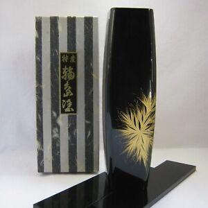 Wooden Wajima Gold maki-e(chinkin) FLOWER VASE Ikebana with box