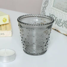 Small decorative smoked grey dimpled glass tealight candle holder vintage gift