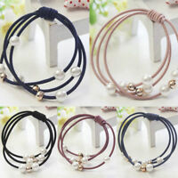 Charm Fashion Women Elastic Ponytail Holder Pearl Hair Tie Ring Rope Hair Bands