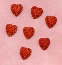 6 VINTAGE ROSES FILIGREE PLASTIC Red HEART Valentine Love CHARMS Drops JAPAN lot