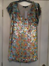BNWT French Connection multi colour Sequin Squares dress size 6 8