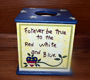 Wooden Tissue Box Cover Patriotic Forever be True to the Red White and Blue