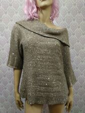 Chicos Sequined Sweater Size 2 Womens Cowl Neck Off Shoulder Beige