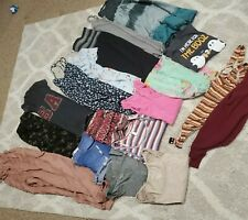 Womens juniors Large 16 piece clothing lot Tops shirts pants dresses #18