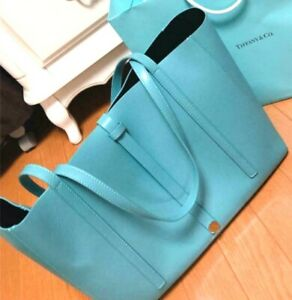 Tiffany & Co. Tiffany Blue New!!  leather Tote bag that can hold A4 size Cool!!