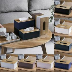 Tissue Holder Tissue Box w/ Wooden Cover For Home Rectangular Tissue  2021