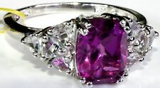 Radiant Orchid Quartz, White Topaz Ring Sterling Silver (Size 9) TGW 4.45 Ct