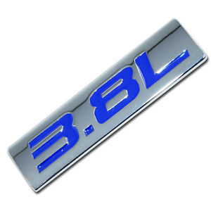 CHROME/BLUE METAL 3.8L ENGINE RACE MOTOR SWAP EMBLEM BADGE FOR TRUNK HOOD DOOR