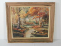 Colorful Signed B K Sutcliffe 1958 Oil On Board Landscape Pond Scene Painting