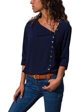 Womens Long Sleeve V Neck Loose Blouse Casual Shirt Summer Chiffon Tops T-Shirt