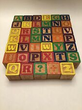 Wooden Blocks Toy Vintage Lot of 41 Alphabet Number ABC Craft Baby Child Hobby