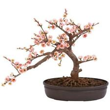Pink Cherry Blossom Bonsai Silk Tree Artificial Fake Plant Floral Decor 15 in.