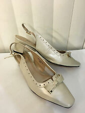 Ros Hommerson Bristol Bone Pearl Slingback Heel Leather Sandals Size 9 W