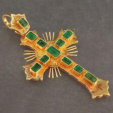 Large, Solid 18K Yellow Gold & 1.00 cttw Columbian Emerald Cross, Estate Pendant