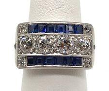 Antique Art Deco 14k White Gold Sapphire & Diamond Ring