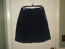 Casablanca Ladies Corduroy Walking Shorts Size 12 Navy Pleated Front NWT