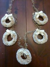 Lot of 5 Miniature White Wreath Tree Ornaments Shabby Bottle Brush Christmas