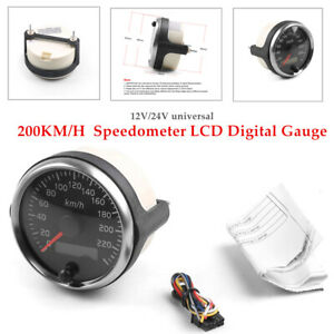 85MM 200KM/H Speedometer LCD Digital Gauge Auto Car Marine Odometer