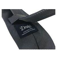 DRAKE'S cravatta uomo foderata cm 8 blu/bianco 100% seta MADE IN ENGLAND
