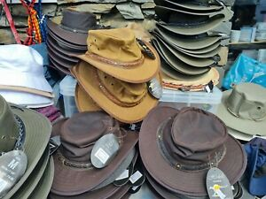 Australian Western Outback Style Cowboy Real Leather wax Bush Hat