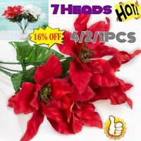 4/2/1PC 7 Head Real Touch Flannel Artificials XMAS Flowers Red Poinsettia Bushes
