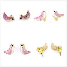Vintage Art Deco gold tone enamel bird charm earrings