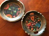 Vintage MEXICAN, BATEA HAND-PAINTED Wooden PLATES(Set of 2) Folk Art from Mexico