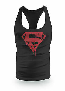 Red Evil Superman Drip Stringer Racer bodybuilding low scoop Y Back Gym Top Vest