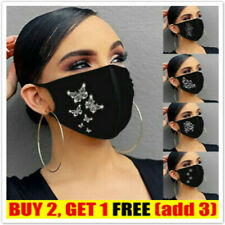 Face Mask Crystal Rhinestone Glitter Sparkle Bling Cotton