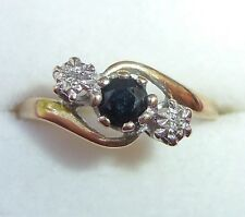 Antique Style 9ct Gold Sapphire & Diamond Crossover Ring, Size O